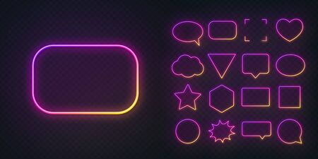 Circle, square, speech bubble, star, triangle, heart, hexagon and other glowing gradient purple yellow neon frames on a dark transparent background.