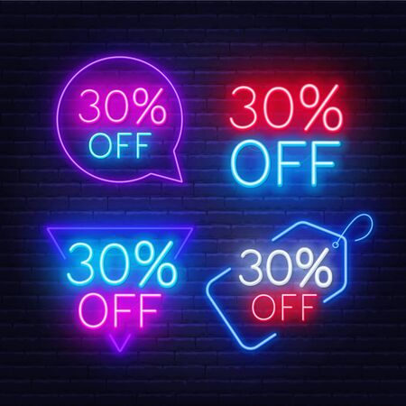 30 percent off set of neon signs on a dark background.