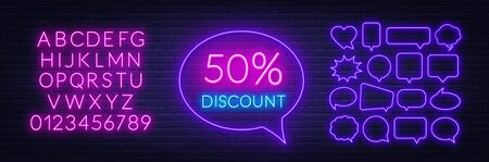 50 percent discount neon sign on brick wall background