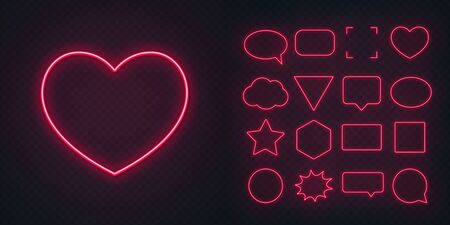 Circle, square, speech bubble, star, triangle, heart, hexagon and other glowing red neon frames on a dark transparent background.