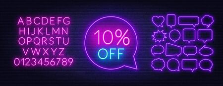10 percent off neon sign. Neon alphabet on brick wall background. Illustration