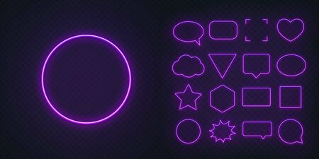 Circle, square, speech bubble, star, triangle, heart, hexagon and other glowing purple neon frames on a dark transparent background. Illustration