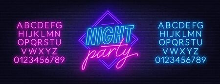 Neon sign Night party on brick wall background