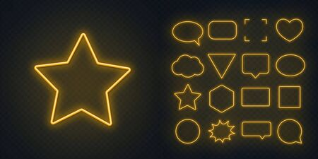 Circle, square, speech bubble, star, triangle, heart, hexagon and other glowing yellow neon frames on a dark transparent background.