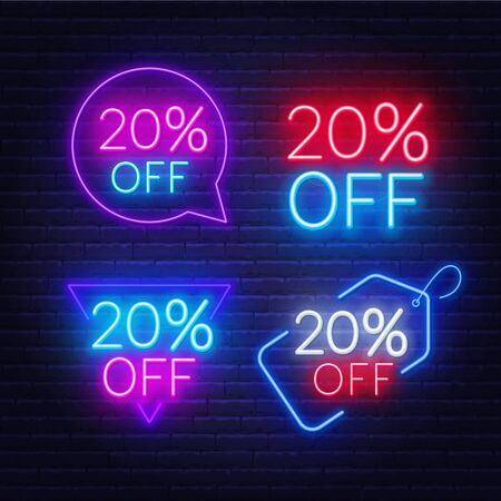 20 percent off set of neon signs on a dark background.