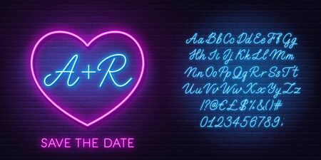 Neon initials in the heart. Neon blue script font. Glowing symbol of love. The template can be used for a wedding invitation or a Valentines Day card.