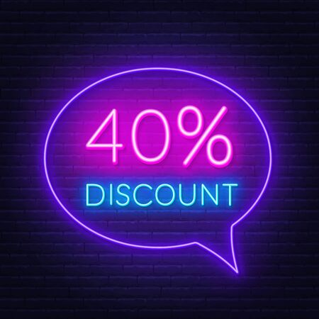 40 percent discount neon sign on brick wall background