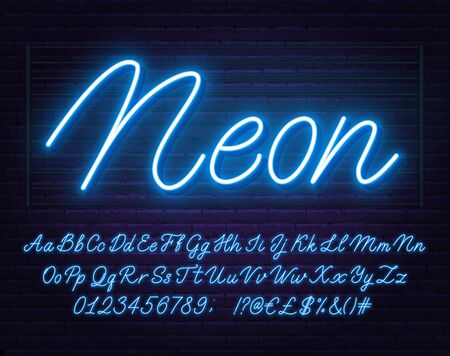 Neon blue script font. Glowing alphabet with letters, numbers and special characters.