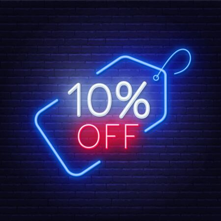 10 percent off neon sign on a dark background .