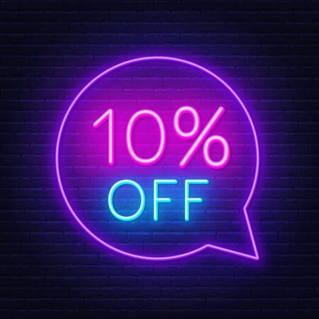 10 percent off neon sign on a dark background. Illustration