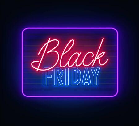 Black Friday neon sign on dark background. Vector illustration. 写真素材 - 150095886