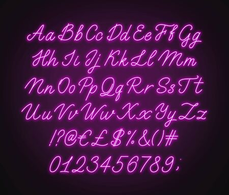 Neon pink script alphabet. Glowing cursive font with letters, numbers and special characters on a dark background.