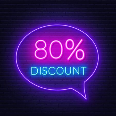 80 percent discount neon sign on brick wall background 일러스트