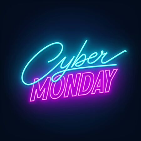 Cyber Monday neon sign on a dark background.