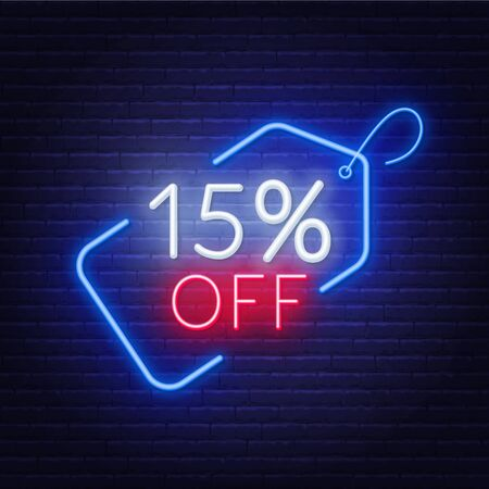 15 percent off neon sign on a dark background.