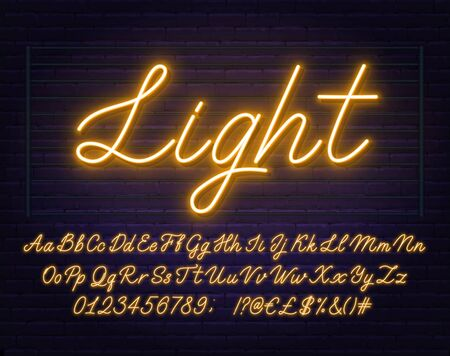 Neon yellow script font. Glowing alphabet with letters, numbers and special characters. Illustration