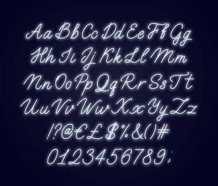 Neon white script alphabet. Glowing cursive font with letters, numbers and special characters. Illustration