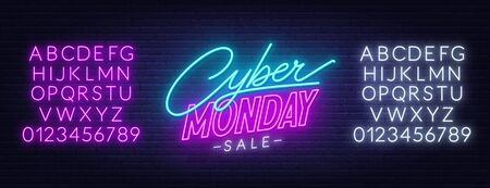 Cyber Monday sale neon sign on a dark background.