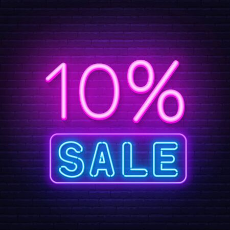 10 percent sale neon sign on brick wall background. Illustration