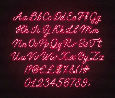 Neon red script alphabet. Glowing cursive font with letters, numbers and special characters.