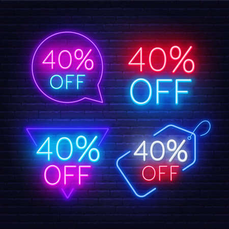 40 percent off set of neon signs on a dark background. Illustration