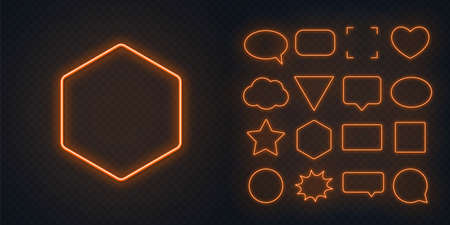 Circle, square, speech bubble, star, triangle, heart, hexagon and other glowing orange neon frames on a dark transparent background.