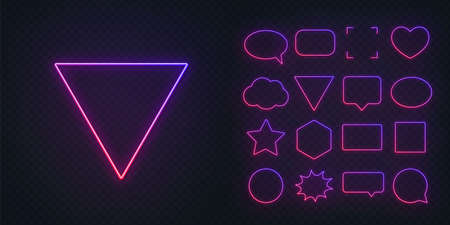 Circle, square, speech bubble, star, triangle, heart, hexagon and other glowing gradient purple pink neon frames on a dark transparent background.