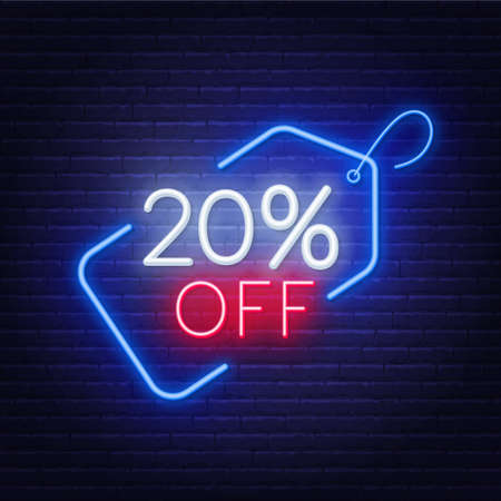 20 percent off neon sign on a dark background. Illustration