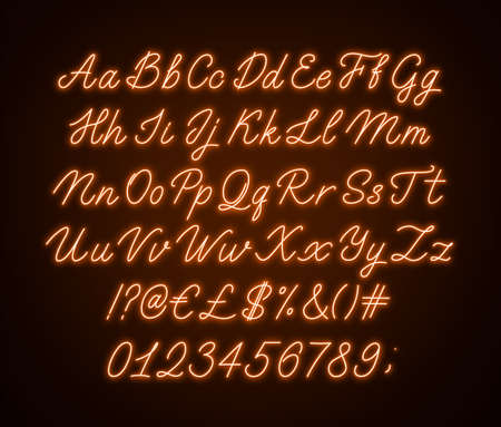 Neon orange script alphabet. Glowing cursive font with letters, numbers and special characters on a dark background. 写真素材 - 152359053
