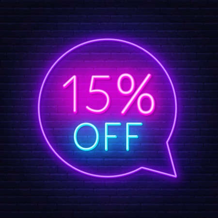 15 percent discount neon sign on brick wall background. Vector illustration Illustration