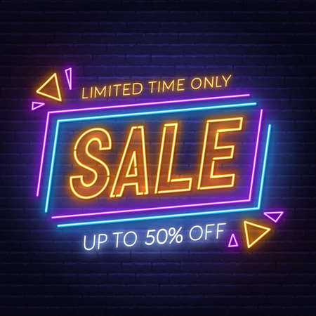 Sale neon sign on brick wall background. Special Offer neon banner.