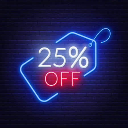 25 percent off neon sign on a dark background. 写真素材 - 151503116