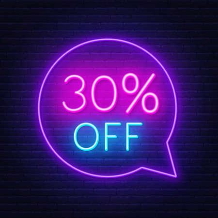 30 percent off neon sign on a dark background. Illusztráció