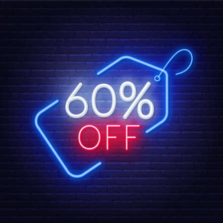 60 percent off neon sign on a dark background. 写真素材 - 152417119