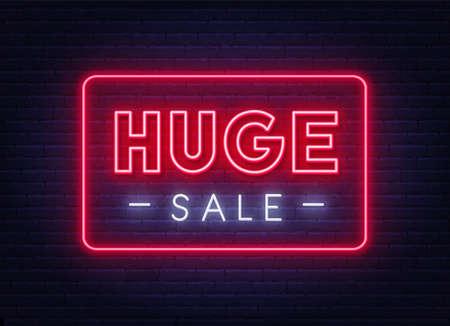 Huge Sale neon sign on brick wall background. Stock Illustratie