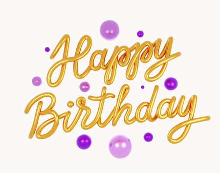 Happy Birthday Golden 3D text. Greeting card.