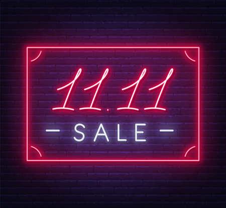 11.11 Singles day sale neon sign on a dark background. Illusztráció