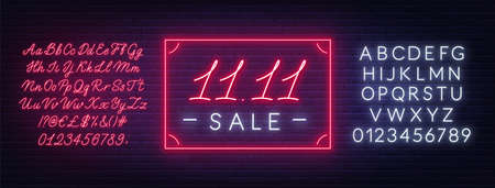 11.11 Singles day sale neon sign on a dark background. 写真素材