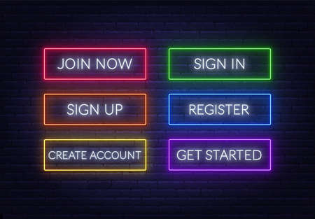 Join now, Sign in, Sign up, Register, Create account, Get started neon sign on a brick background. Multicolored glowing buttons.