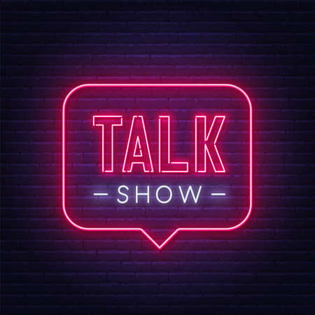 Talk show neon sign on brick wall background.  イラスト・ベクター素材
