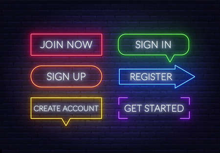 Join now, Sign in, Sign up, Register, Create account, Get started neon sign on a brick background. Multicolored glowing buttons.  イラスト・ベクター素材