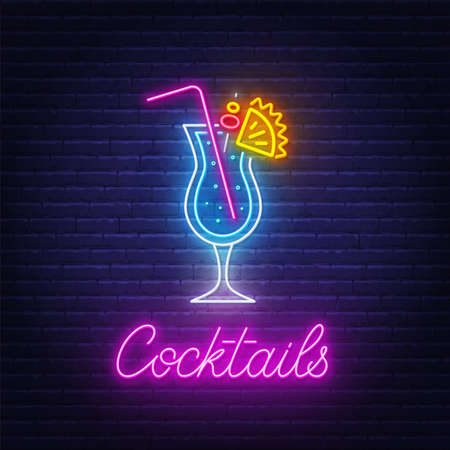 Cocktail Blue Hawaiian neon sign on brick wall background.  イラスト・ベクター素材