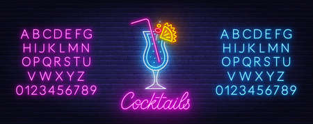 Cocktail neon sign on brick wall background.