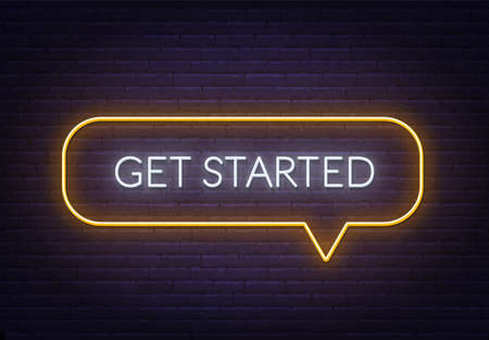 Get started neon sign on a brick background.  イラスト・ベクター素材
