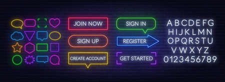 Join now, Sign in, Sign up, Register, Create account, Get started neon sign on a brick background. Template for a design with speech bubble frames and white alphabet.