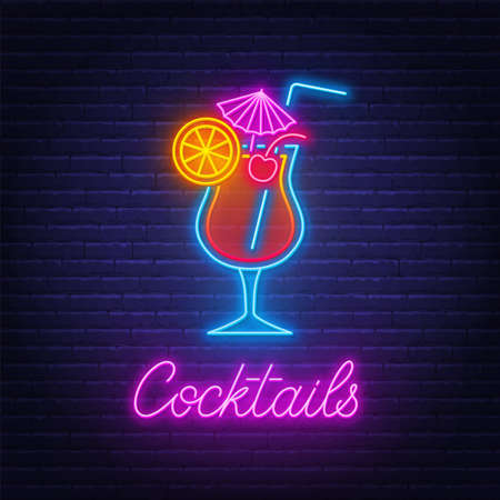 Cocktail Tequila sunrise neon sign on brick wall background.