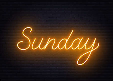 Sunday neon sign on brick wall background.
