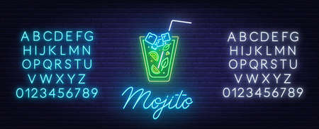 Cocktail Mojito neon sign on brick wall background.