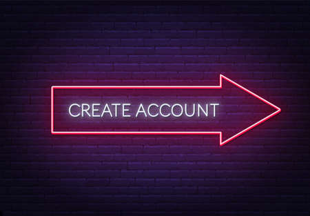 Create account neon sign on a brick background.