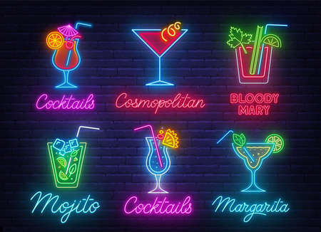 Cocktail Margarita, Blue Hawaiian,Mojito,Bloody Mary, Cosmopolitan and Tequila sunrise neon sign on brick wall background. 写真素材